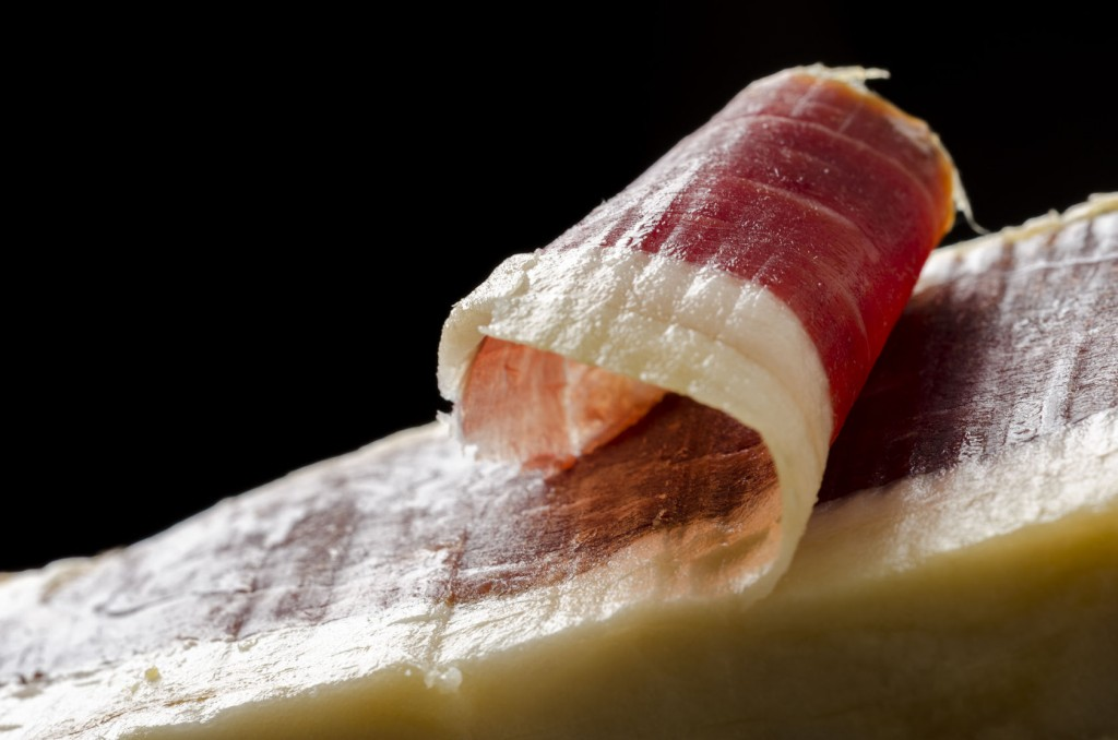 50669427 - detail of sliced iberian spanish, bellota ham. gourmet spanish food.